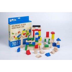Drewniane Klocki BRIK 70szt, kolorowe - drewniane zabawki