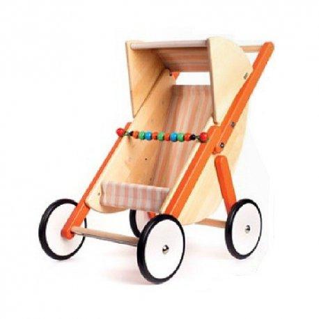 Drewniany wózek spacerówka dla lalek - Bajo 74230 - pomarańczowy