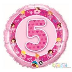 """Balon Piątka - Różwy Balon z Helem na Piąte Urodziny 19"""""""