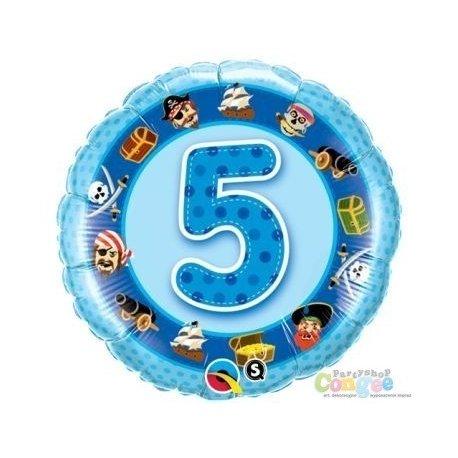Balon urodzinowy z helem - niebieska Piątka