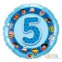 """Balon na Piąte Urodziny z Helem - Niebieski 19"""""""