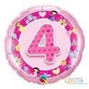 Balon na Czwarte Urodziny z Helem - Balon Różowa 4