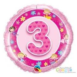 Balon urodzinowy z helem - różowa Trójka - 46 cm