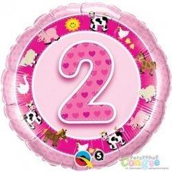 Balon urodzinowy z helem - różowa Dwójka