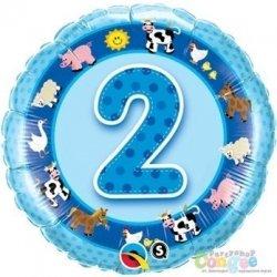 Balon urodzinowy z helem - niebieska Dwójka