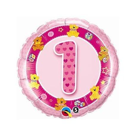 Balon urodzinowy z helem - różowa Jedynka