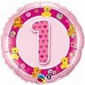 Balon Urodzinowy z Helem dla Dziewczynki - Różowa Jedynka