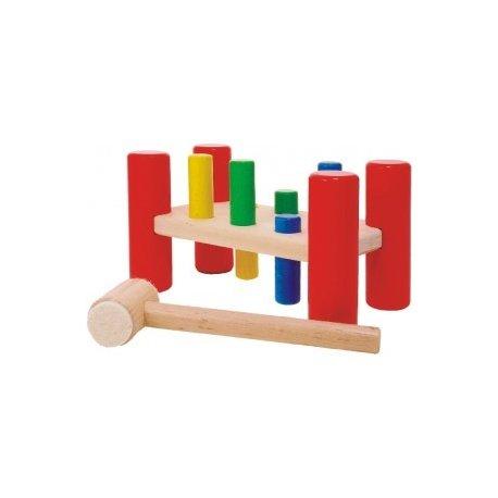Drewniana Przebijanka, czerwona - BAJO - 34710 (Hammering Board)