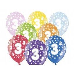 Balon 30cm Trójka - lateksowy, różne kolory