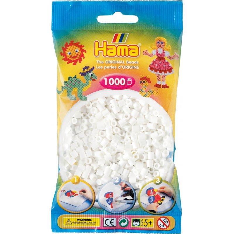 Koraliki HAMA w białym kolorze - 1000 sztuk w woreczku