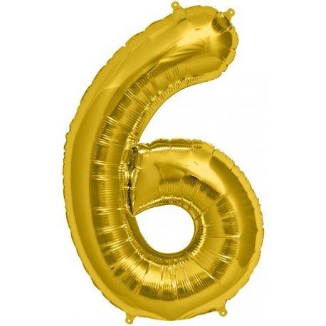 """Balon Foliowy 34"""" Cyfra 6 ZŁOTY"""