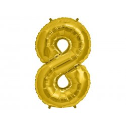 """Balon Foliowy 34"""" Cyfra 8 ZŁOTY"""