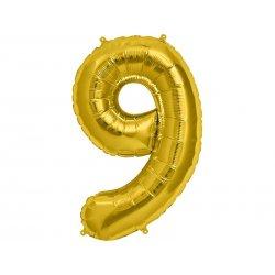 """Balon Foliowy 34"""" Cyfra 9 ZŁOTY - na Hel"""