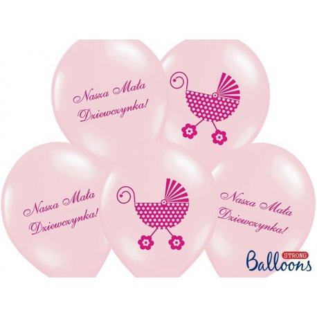 Balon Nasza Mała Dziewczynka - lateksowy, różowy