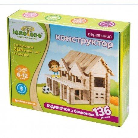 Igroteco Drewniany Dom z balkonem 136el
