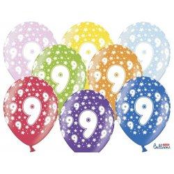 Balon 30cm Dziewięć - lateksowy, różne kolory