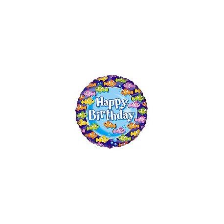 """Balon foliowy 18"""" Happy Birthday Rybki"""