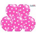 Balon lateksowy 30 cm - Kropki pastel hot pink
