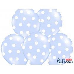 Balon lateksowy 30 cm - Kropki pastel baby blue