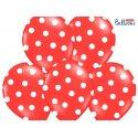 Balon lateksowy 30 cm - Kropki pastel poppy red