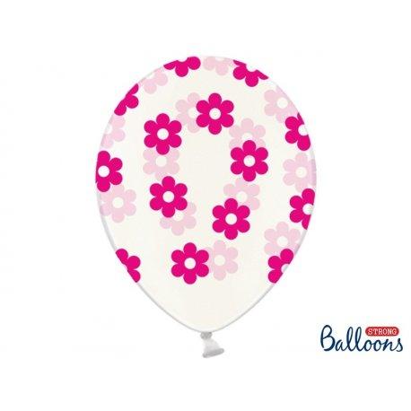 Balon lateksowy 30cm, Kwiatki - Crystal Clear