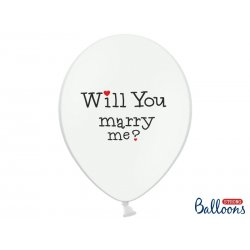 Balon lateksowy 30cm, Will you marry me? , Pastel Pure White