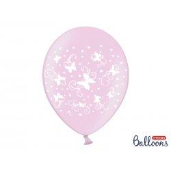 Balon lateksowy 30cm - Motylki, Metalic candy pink
