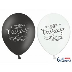 Balon lateksowy 30cm - Happy Birthday, Pastel