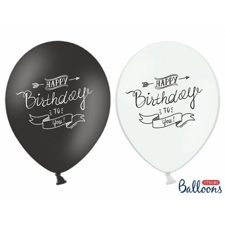 Balon lateksowy 30cm - Happy Birthday, Pastel