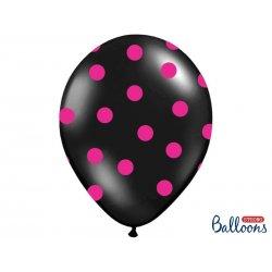 Balon lateksowy 30 cm - Kropki pastel black