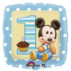 Balon Mickey - 1 URODZINY - Foliowy kwadrat 43 cm