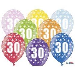 Balon 30cm Trzydziestka - lateksowy, różne kolory