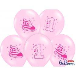 Balon 30 cm Trampek na 1 urodziny - lateksowy, różowy