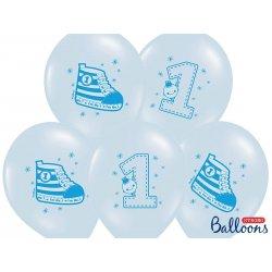 Balon 30 cm Trampek na 1 urodziny - lateksowy, niebieski