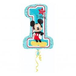 """Balon foliowy 28"""" cyfra 1 z Myszką Mickey"""