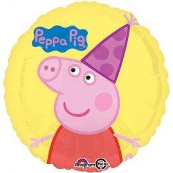 """Świnka Peppa 17"""" - balon foliowy, okrągły napełniony helem"""