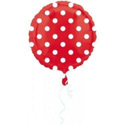 """Balon foliowy 18"""" czerwony w grochy"""