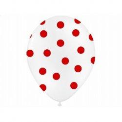 Balon lateksowy 30 cm - Kropki czerowne pastel white