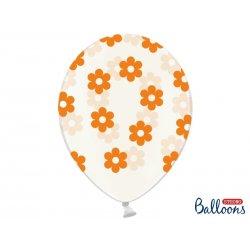 Balon lateksowy Crystal Clear 30 cm - Pomarańczowe kwiatki
