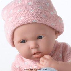 Lalka la Newborn, dziewczynka w różowym ubranku w kropeczki