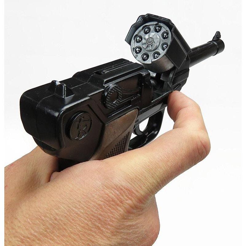 Czarny metalowy pistolet na kapiszony - GONHER 124/6