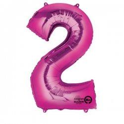Balon foliowy, cyfra 2 różowa 34