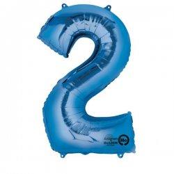 Balon foliowy, cyfra 2 niebieska 34 cale