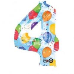 Balon foliowy, cyfra 4 kolorowa 34 cale