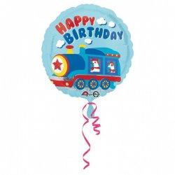 """Balon foliowy 17"""" Happy birthday pociąg"""