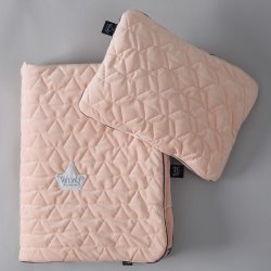 Pościel Velvet Collection - blanket and mid pillow, powder pink - La Millou