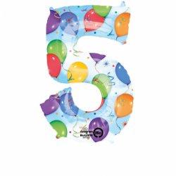 Balon foliowy, cyfra 5 kolorowa 34 cale