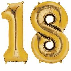 Balony 18 złote - dekoracje na urodziny 88cm wysokie