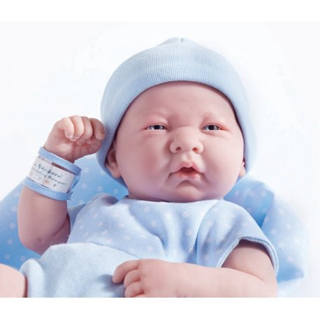 Lalka La Newborn, chłopczyk w niebieskim ubranku z kocykiem