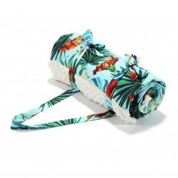 Koc Picnic z kieszonką, Mata do zabawy XL - blue hawaiian flowers, ecru - La Millou